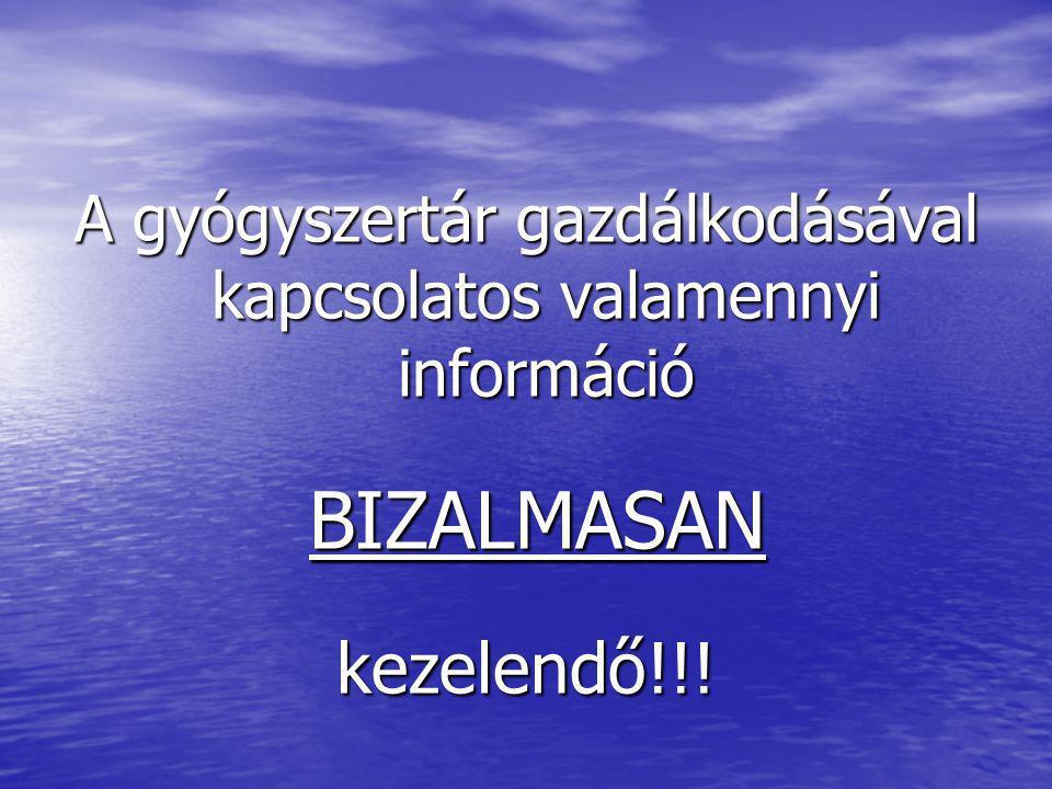 A gyógyszertár gazdálkodásával kapcsolatos valamennyi információ BIZALMASAN BIZALMASANkezelendő!!!