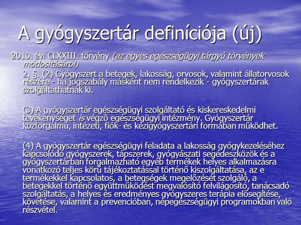 A gyógyszertár definíciója (új) 2010. évi CLXXIII. törvény (az egyes egészségügyi tárgyú törvények módosításáról) 2. §. (2) Gyógyszert a betegek, lako