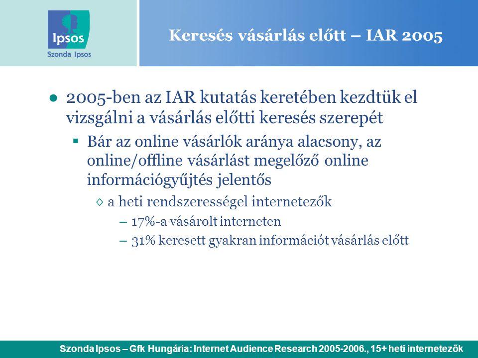 Keresés vásárlás előtt – IAR 2005 ●2005-ben az IAR kutatás keretében kezdtük el vizsgálni a vásárlás előtti keresés szerepét  Bár az online vásárlók aránya alacsony, az online/offline vásárlást megelőző online információgyűjtés jelentős ◊a heti rendszerességel internetezők – 17%-a vásárolt interneten – 31% keresett gyakran információt vásárlás előtt Szonda Ipsos – Gfk Hungária: Internet Audience Research 2005-2006., 15+ heti internetezők