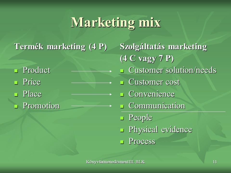 Könyvtármenedzsment III. BLK11 Marketing mix Termék marketing (4 P)  Product  Price  Place  Promotion Szolgáltatás marketing (4 C vagy 7 P)  Cust