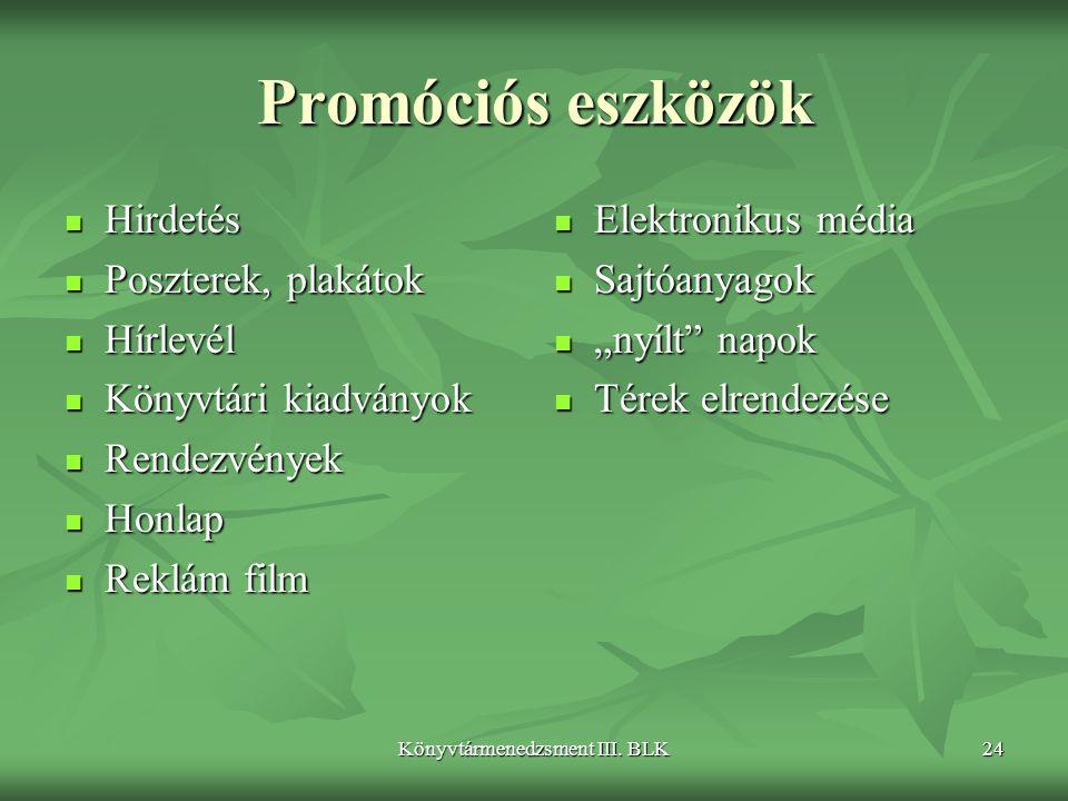 Könyvtármenedzsment III. BLK24 Promóciós eszközök  Hirdetés  Poszterek, plakátok  Hírlevél  Könyvtári kiadványok  Rendezvények  Honlap  Reklám