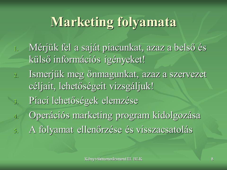 Könyvtármenedzsment III. BLK8 Marketing folyamata 1. Mérjük fel a saját piacunkat, azaz a belső és külső információs igényeket! 2. Ismerjük meg önmagu