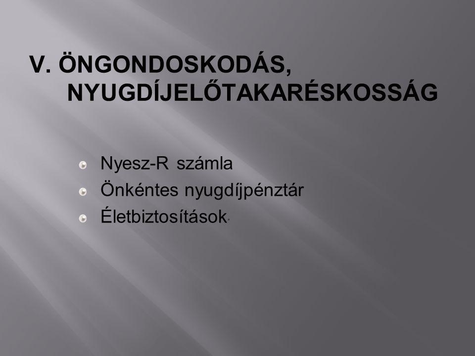 Nyesz-R számla Önkéntes nyugdíjpénztár Életbiztosítások * V. ÖNGONDOSKODÁS, NYUGDÍJELŐTAKARÉSKOSSÁG