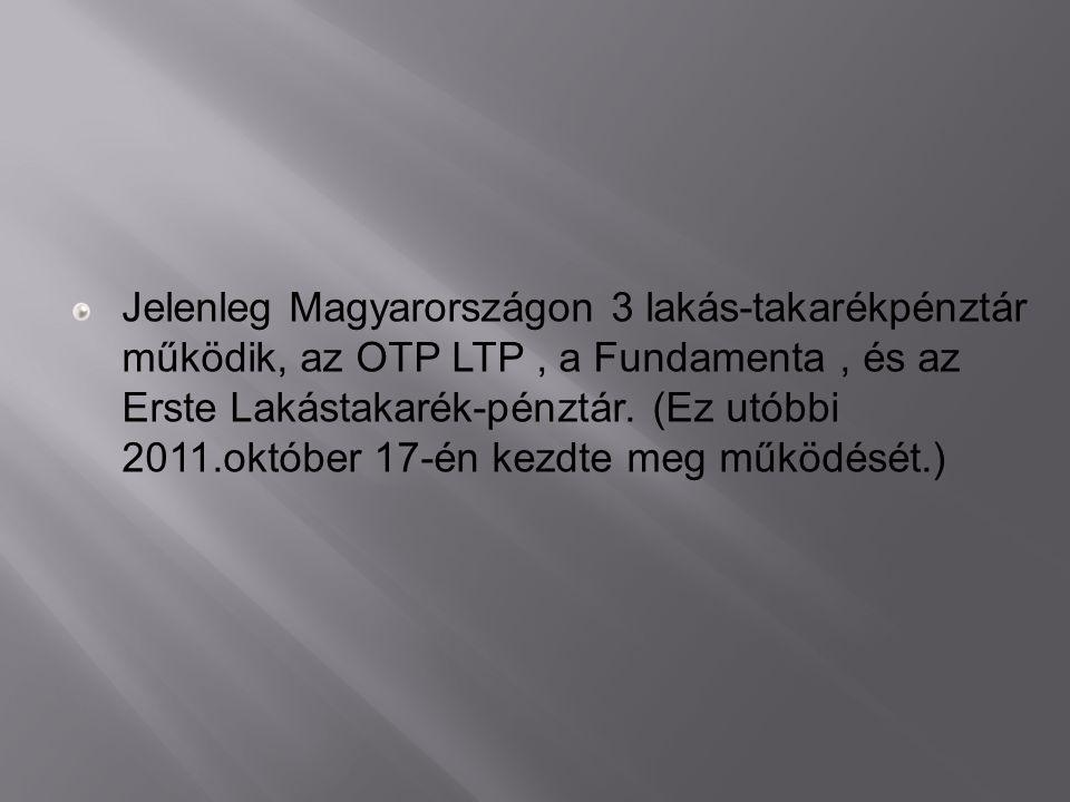 Jelenleg Magyarországon 3 lakás-takarékpénztár működik, az OTP LTP, a Fundamenta, és az Erste Lakástakarék-pénztár. (Ez utóbbi 2011.október 17-én kezd
