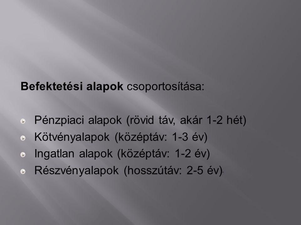 Befektetési alapok csoportosítása: Pénzpiaci alapok (rövid táv, akár 1-2 hét) Kötvényalapok (középtáv: 1-3 év) Ingatlan alapok (középtáv: 1-2 év) Rész