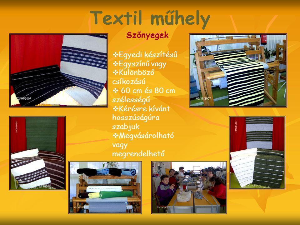 Textil műhely Szőnyegek  Egyedi készítésű  Egyszínű vagy  Különböző csíkozású  60 cm és 80 cm szélességű  Kérésre kívánt hosszúságúra szabjuk  Megvásárolható vagy megrendelhető