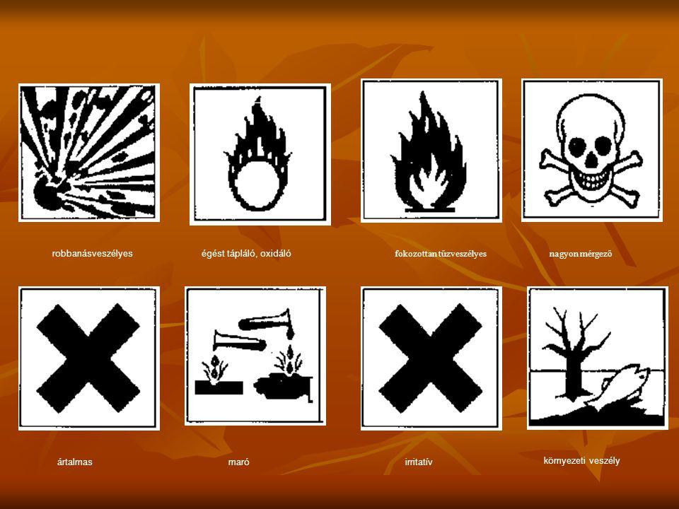 robbanásveszélyeségést tápláló, oxidáló fokozottan tűzveszélyesnagyon mérgező ártalmasmaróirritatív környezeti veszély