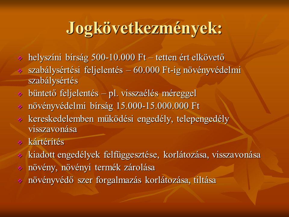 Jogkövetkezmények:  helyszíni bírság 500-10.000 Ft – tetten ért elkövető  szabálysértési feljelentés – 60.000 Ft-ig növényvédelmi szabálysértés  bü