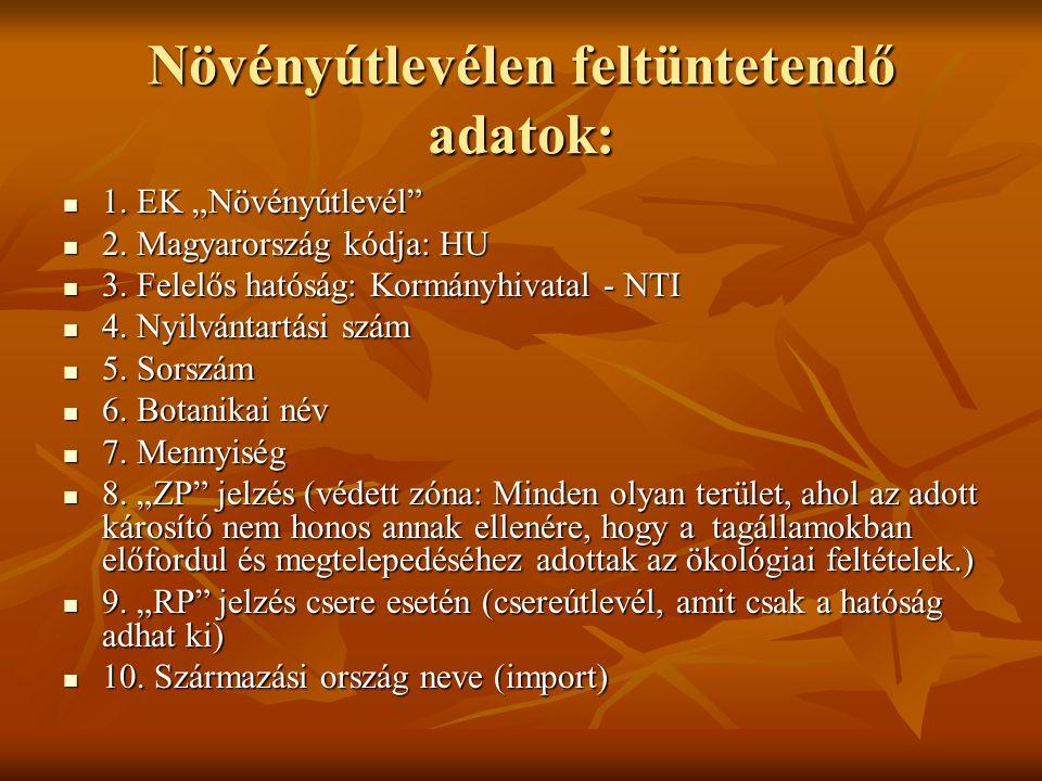 """Növényútlevélen feltüntetendő adatok:  1. EK """"Növényútlevél""""  2. Magyarország kódja: HU  3. Felelős hatóság: Kormányhivatal - NTI  4. Nyilvántartá"""