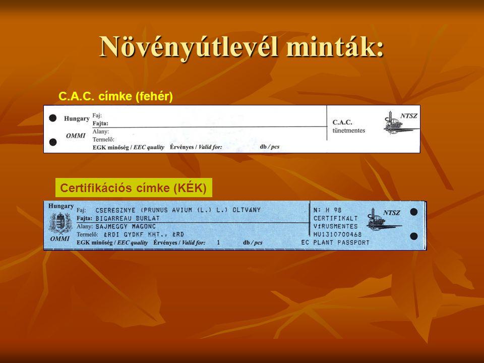 C.A.C. címke (fehér) Certifikációs címke (KÉK)