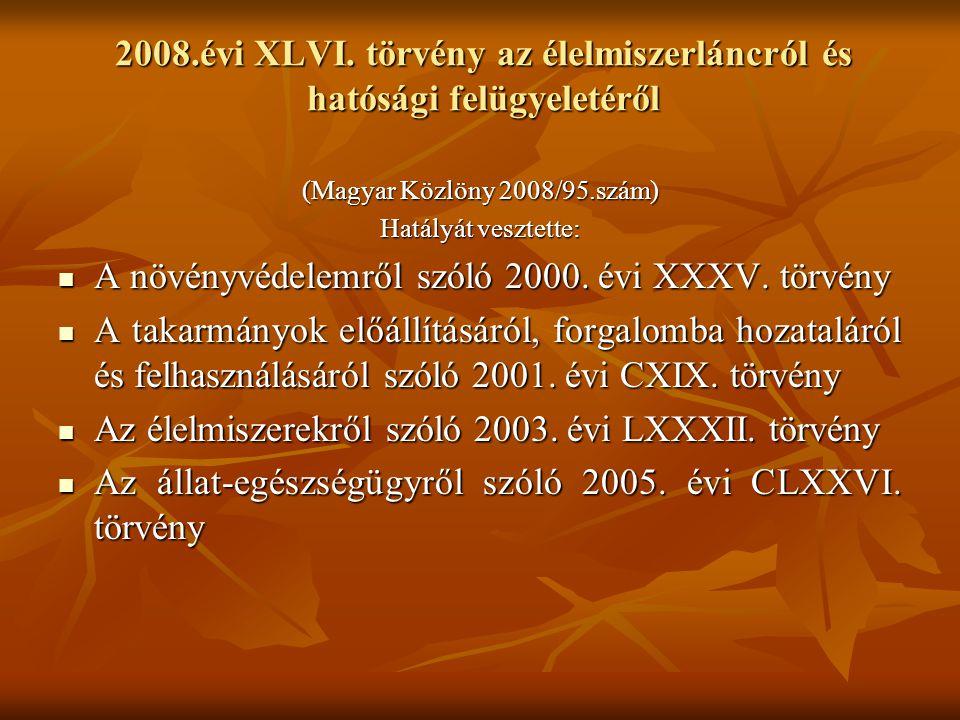 2008.évi XLVI. törvény az élelmiszerláncról és hatósági felügyeletéről (Magyar Közlöny 2008/95.szám) Hatályát vesztette:  A növényvédelemről szóló 20