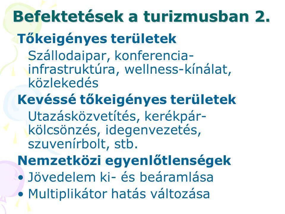 Befektetések a turizmusban 2. Tőkeigényes területek Szállodaipar, konferencia- infrastruktúra, wellness-kínálat, közlekedés Kevéssé tőkeigényes terüle