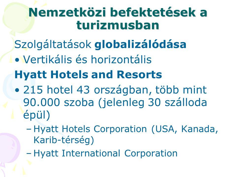Nemzetközi befektetések a turizmusban Szolgáltatások globalizálódása •Vertikális és horizontális Hyatt Hotels and Resorts •215 hotel 43 országban, töb