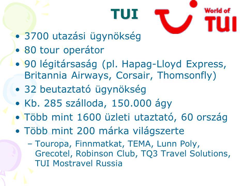 TUI •3700 utazási ügynökség •80 tour operátor •90 légitársaság (pl. Hapag-Lloyd Express, Britannia Airways, Corsair, Thomsonfly) •32 beutaztató ügynök