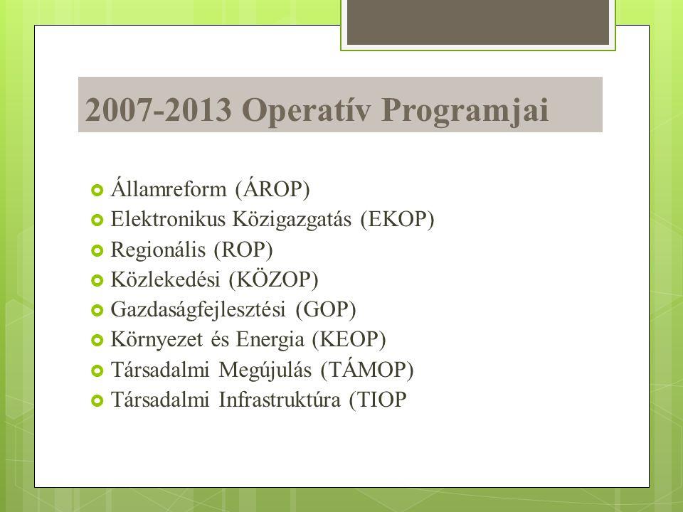 2007-2013 Operatív Programjai  Államreform (ÁROP)  Elektronikus Közigazgatás (EKOP)  Regionális (ROP)  Közlekedési (KÖZOP)  Gazdaságfejlesztési (