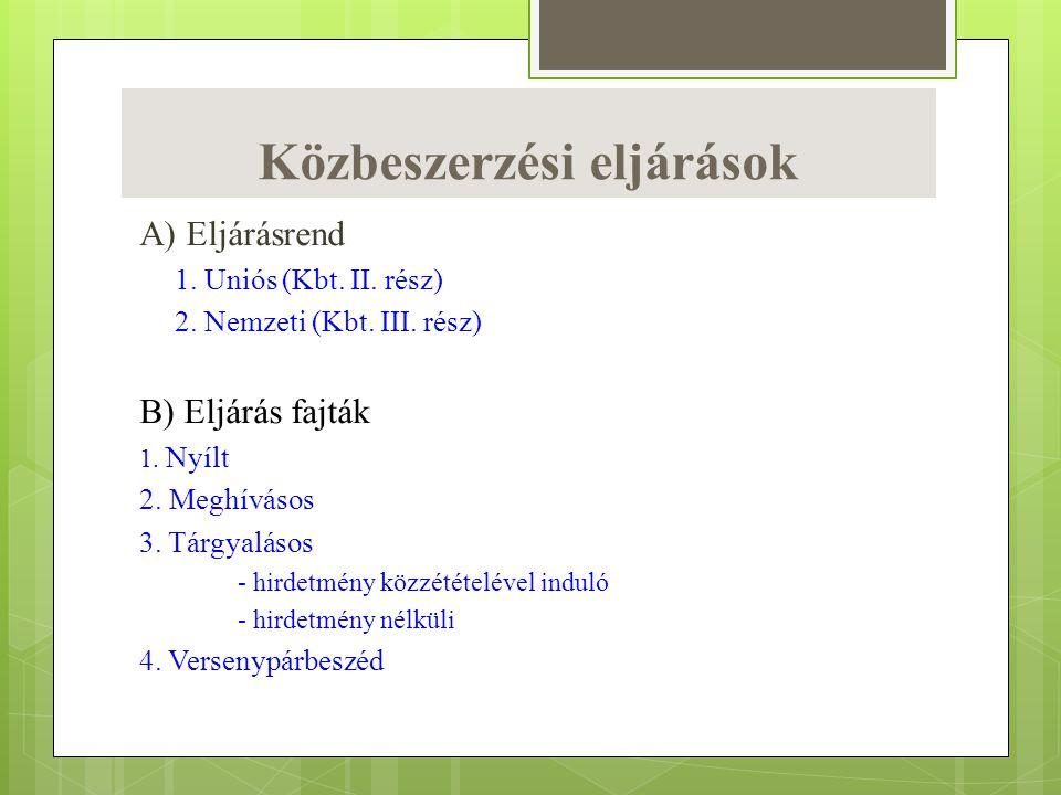 Közbeszerzési eljárások A) Eljárásrend 1. Uniós (Kbt. II. rész) 2. Nemzeti (Kbt. III. rész) B) Eljárás fajták 1. Nyílt 2. Meghívásos 3. Tárgyalásos -