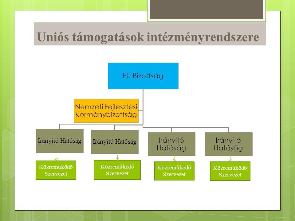 Uniós támogatások intézményrendszere EU Bizottság Irányító Hatóság Nemzeti Fejlesztési Kormánybizottság Közreműködő Szervezet