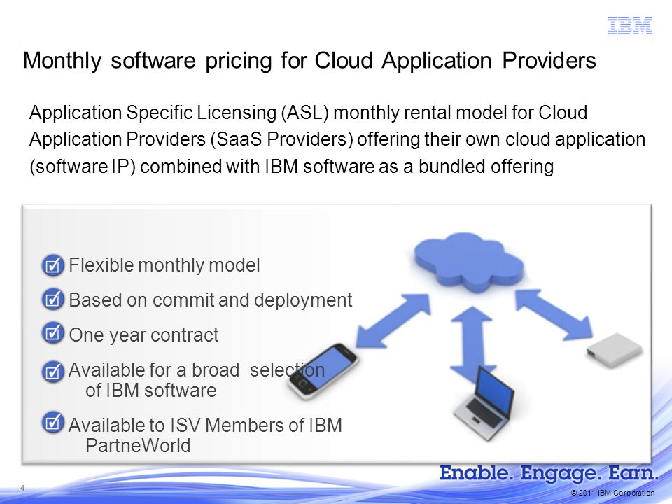 © 2011 IBM Corporation 5 What this means for you  ISV is an IBM PartnerWorld member  Application must be:  Value-added application bundled with IBM software  Must include ISVs own software application  Delivered over internet to end customers  Monthly license charge  Pay monthly in arrears  One year ASL agreement term  Available for a broad selection of distributed software  Expense aligned with revenue flow  Rent IBM software license  No perpetual entitlement Qualifications Benefits Outcome CLOUD APPLICATION PROVIDERS ibm.com/cloud/partner/pricing