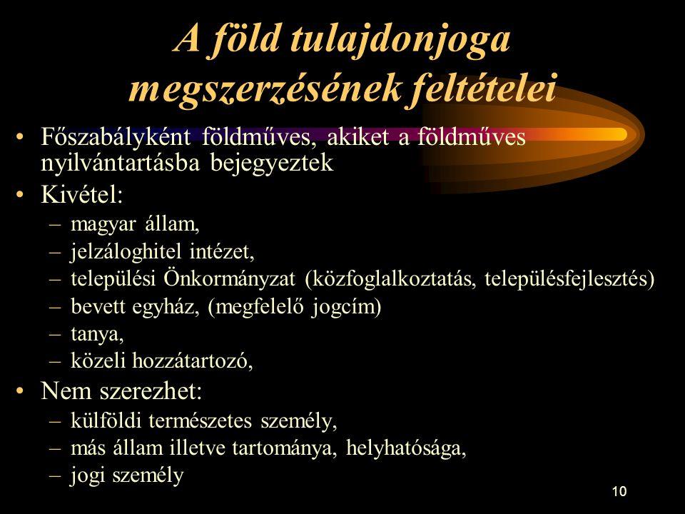 10 A föld tulajdonjoga megszerzésének feltételei •Főszabályként földműves, akiket a földműves nyilvántartásba bejegyeztek •Kivétel: –magyar állam, –je
