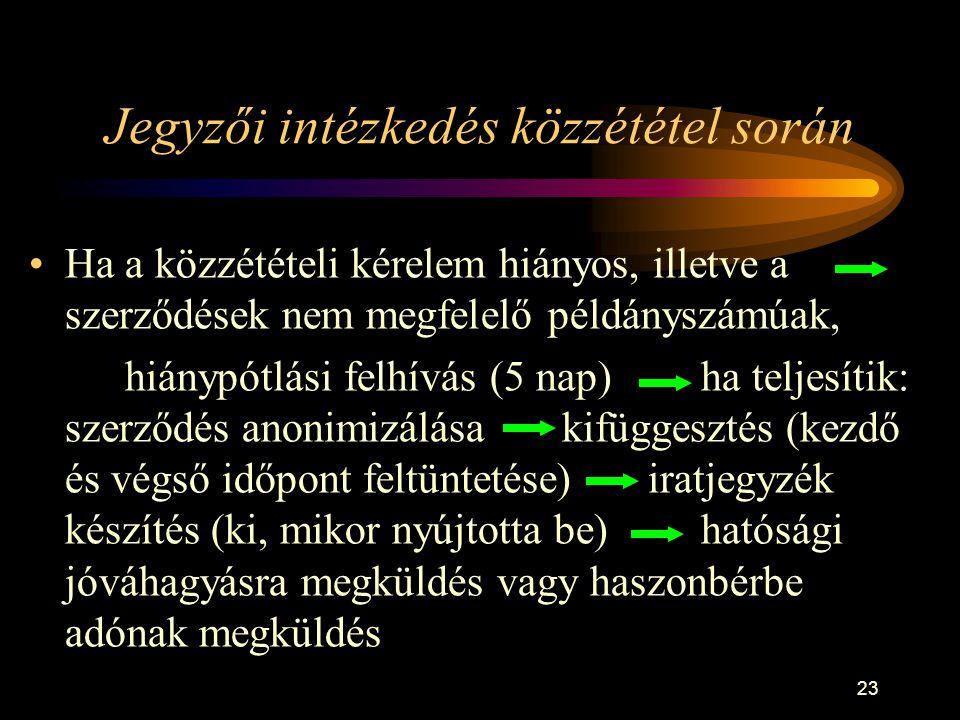 23 Jegyzői intézkedés közzététel során •Ha a közzétételi kérelem hiányos, illetve a szerződések nem megfelelő példányszámúak, hiánypótlási felhívás (5