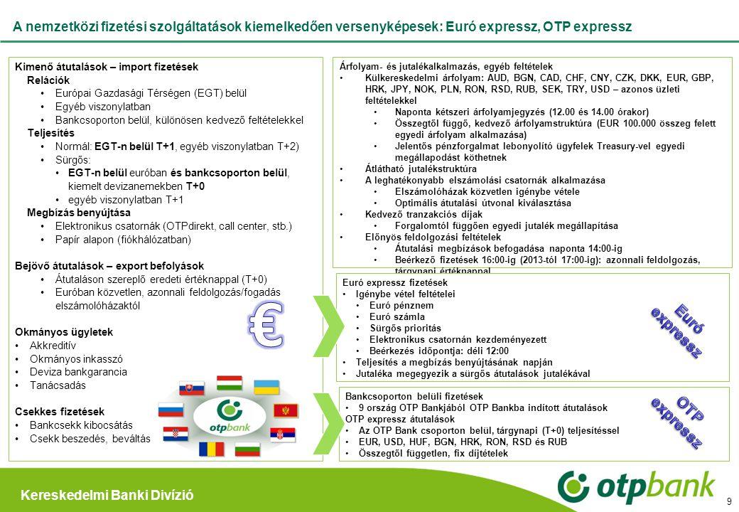 Kereskedelmi Banki Divízió A nemzetközi fizetési szolgáltatások kiemelkedően versenyképesek: Euró expressz, OTP expressz Kimenő átutalások – import fi