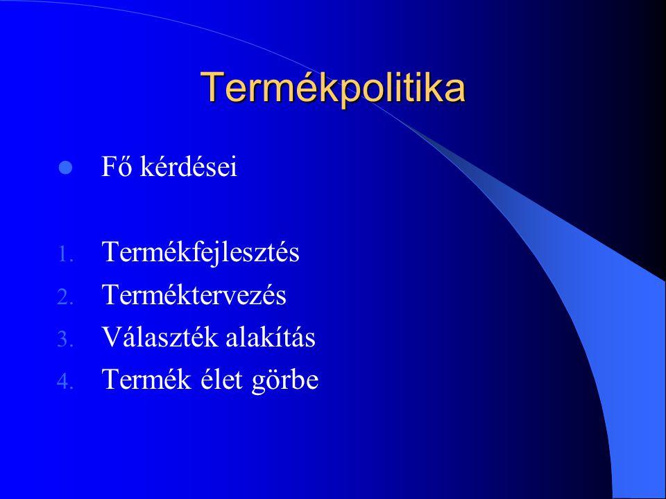 Termékpolitika  Fő kérdései 1. Termékfejlesztés 2. Terméktervezés 3. Választék alakítás 4. Termék élet görbe