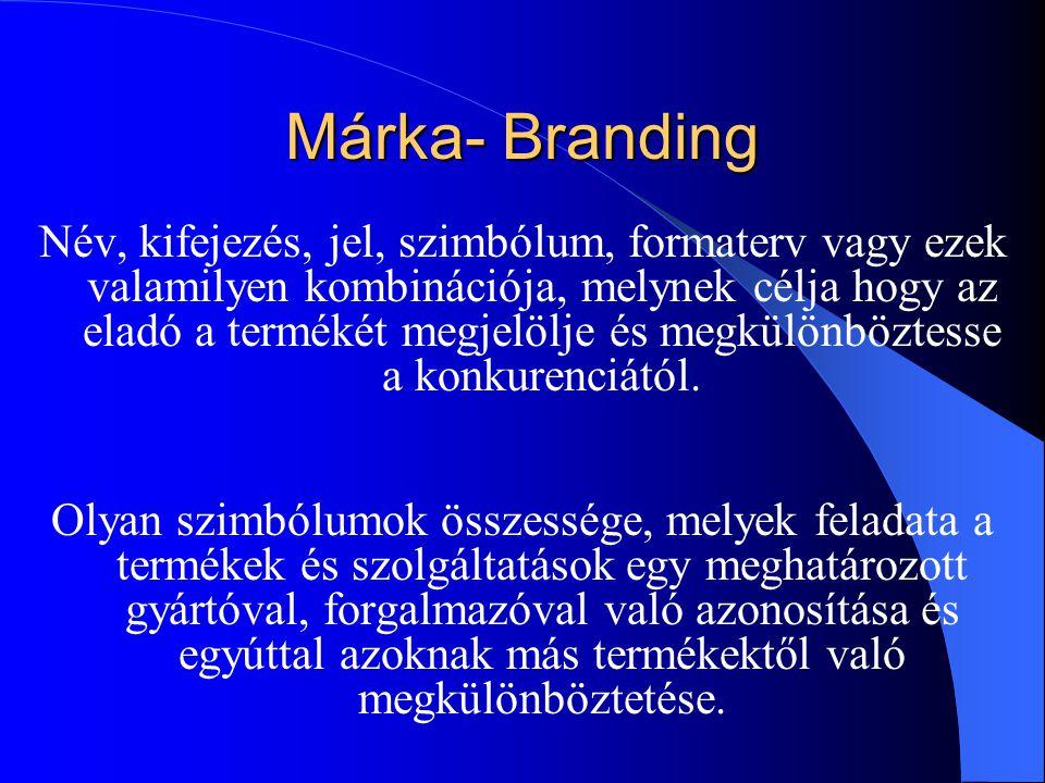 Márka- Branding Név, kifejezés, jel, szimbólum, formaterv vagy ezek valamilyen kombinációja, melynek célja hogy az eladó a termékét megjelölje és megk