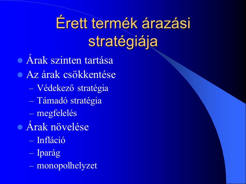 Érett termék árazási stratégiája  Árak szinten tartása  Az árak csökkentése – Védekező stratégia – Támadó stratégia – megfelelés  Árak növelése – I