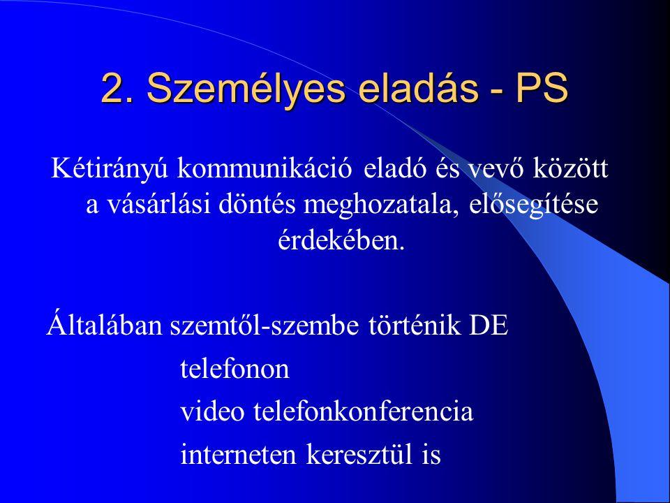 2. Személyes eladás - PS Kétirányú kommunikáció eladó és vevő között a vásárlási döntés meghozatala, elősegítése érdekében. Általában szemtől-szembe t