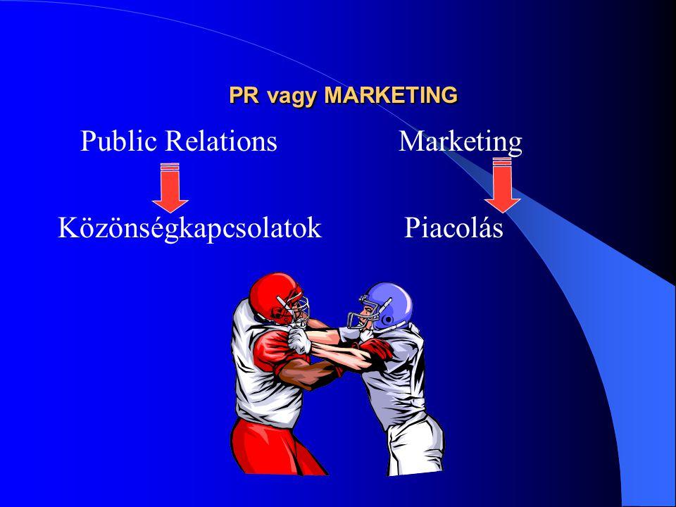 PR vagy MARKETING PR vagy MARKETING Public Relations Marketing Közönségkapcsolatok Piacolás