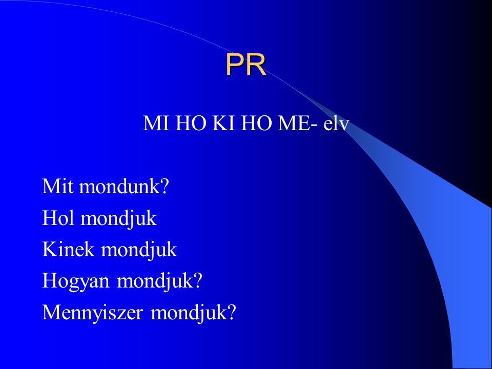 PR MI HO KI HO ME- elv Mit mondunk? Hol mondjuk Kinek mondjuk Hogyan mondjuk? Mennyiszer mondjuk?