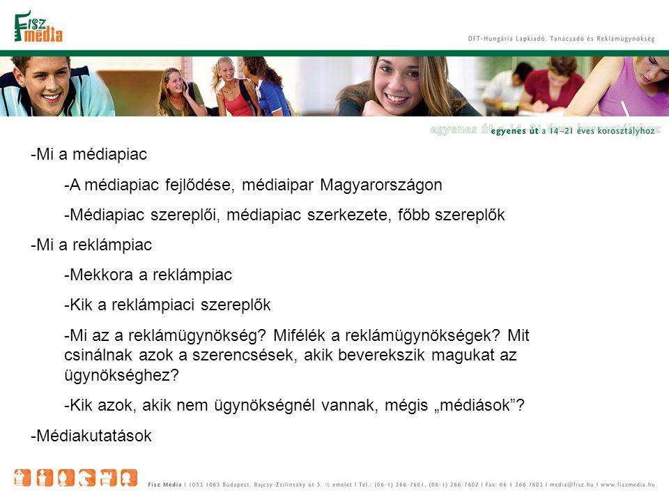-Mi a médiapiac -A médiapiac fejlődése, médiaipar Magyarországon -Médiapiac szereplői, médiapiac szerkezete, főbb szereplők -Mi a reklámpiac -Mekkora a reklámpiac -Kik a reklámpiaci szereplők -Mi az a reklámügynökség.
