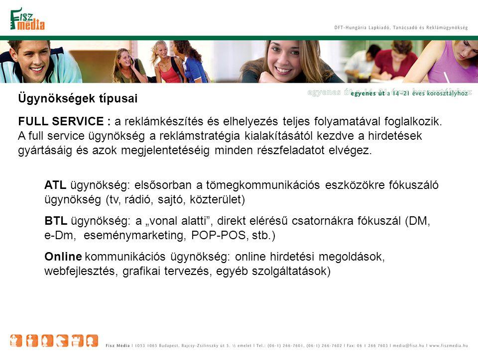 Ügynökségek típusai FULL SERVICE : a reklámkészítés és elhelyezés teljes folyamatával foglalkozik.