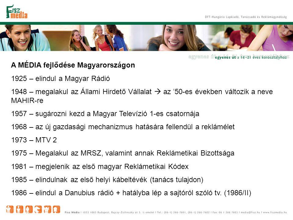 A MÉDIA fejlődése Magyarországon 1925 – elindul a Magyar Rádió 1948 – megalakul az Állami Hirdető Vállalat  az '50-es években változik a neve MAHIR-re 1957 – sugározni kezd a Magyar Televízió 1-es csatornája 1968 – az új gazdasági mechanizmus hatására fellendül a reklámélet 1973 – MTV 2 1975 – Megalakul az MRSZ, valamint annak Reklámetikai Bizottsága 1981 – megjelenik az első magyar Reklámetikai Kódex 1985 – elindulnak az első helyi kábeltévék (tanács tulajdon) 1986 – elindul a Danubius rádió + hatályba lép a sajtóról szóló tv.