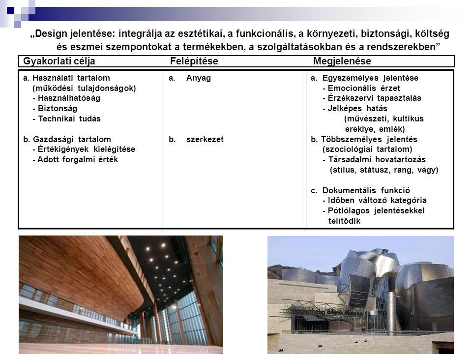 """""""Design jelentése: integrálja az esztétikai, a funkcionális, a környezeti, biztonsági, költség és eszmei szempontokat a termékekben, a szolgáltatásokb"""