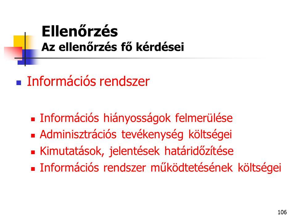 106 Ellenőrzés Az ellenőrzés fő kérdései  Információs rendszer  Információs hiányosságok felmerülése  Adminisztrációs tevékenység költségei  Kimut