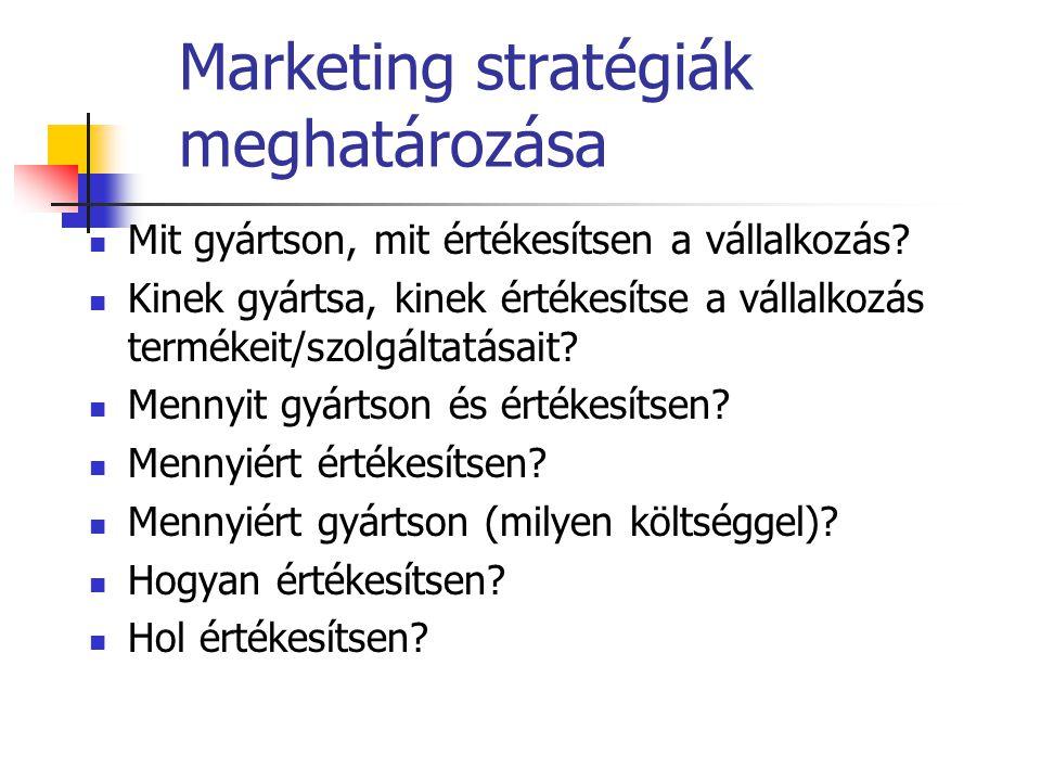 Marketing stratégiák meghatározása  Mit gyártson, mit értékesítsen a vállalkozás?  Kinek gyártsa, kinek értékesítse a vállalkozás termékeit/szolgált