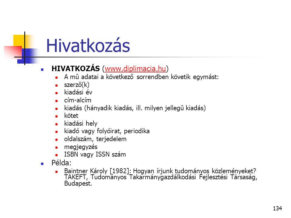 134 Hivatkozás  HIVATKOZÁS (www.diplimacia.hu)www.diplimacia.hu  A mû adatai a következő sorrendben követik egymást:  szerző(k)  kiadási év  cím-
