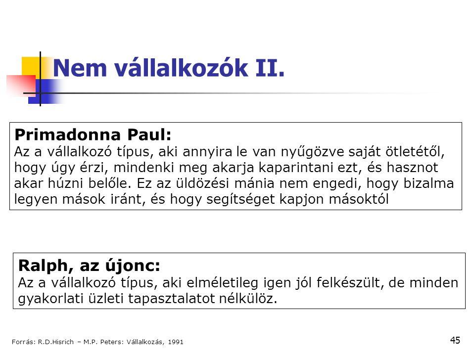 45 Nem vállalkozók II. Primadonna Paul: Az a vállalkozó típus, aki annyira le van nyűgözve saját ötletétől, hogy úgy érzi, mindenki meg akarja kaparin