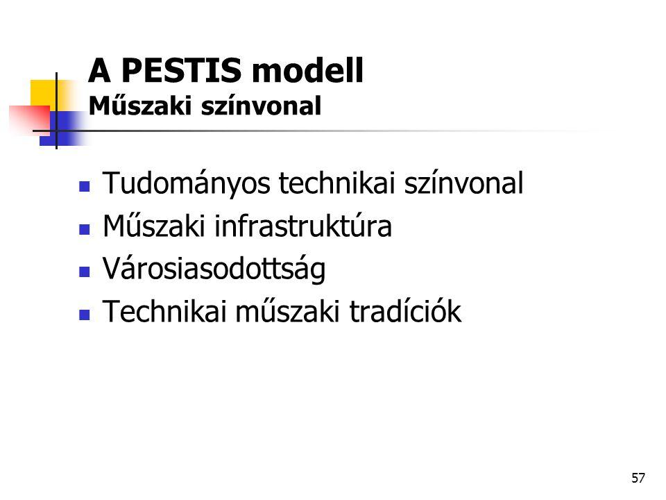 57 A PESTIS modell Műszaki színvonal  Tudományos technikai színvonal  Műszaki infrastruktúra  Városiasodottság  Technikai műszaki tradíciók