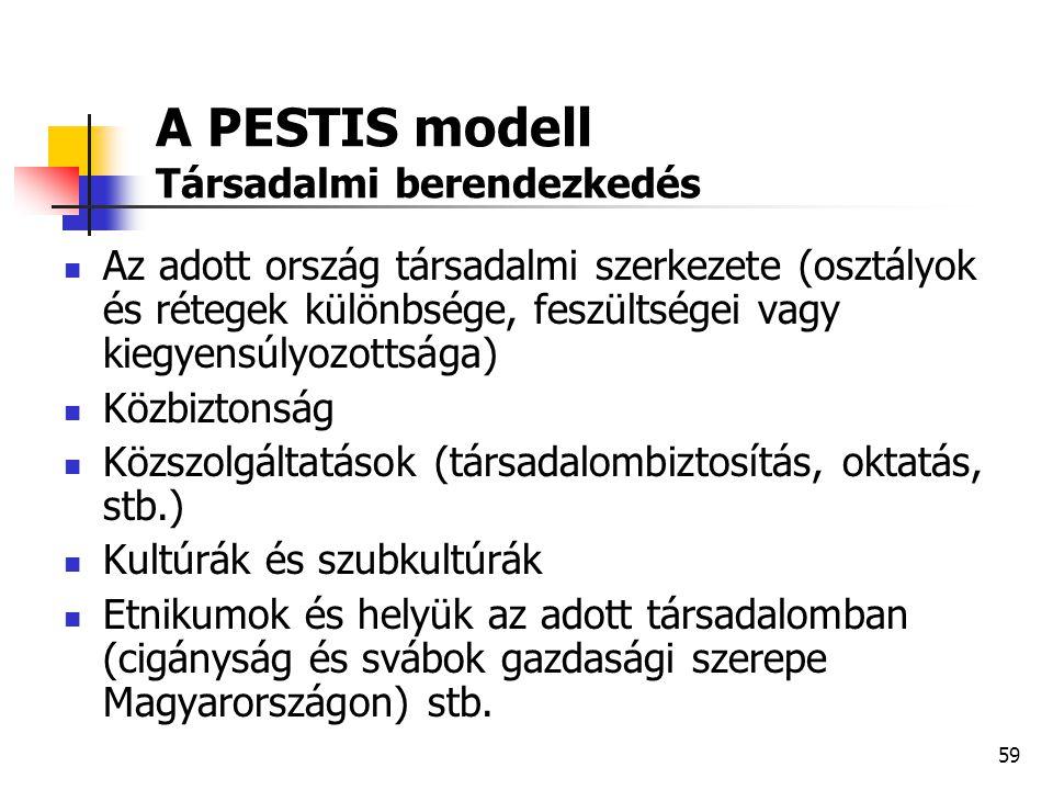 59 A PESTIS modell Társadalmi berendezkedés  Az adott ország társadalmi szerkezete (osztályok és rétegek különbsége, feszültségei vagy kiegyensúlyozo