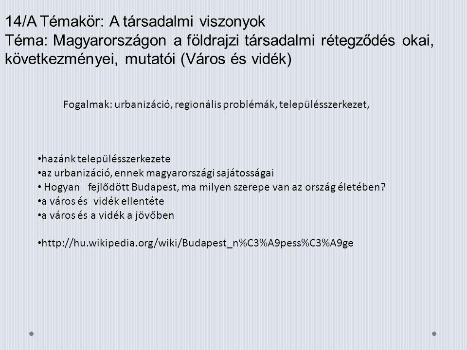 14/A Témakör: A társadalmi viszonyok Téma: Magyarországon a földrajzi társadalmi rétegződés okai, következményei, mutatói (Város és vidék) Fogalmak: u