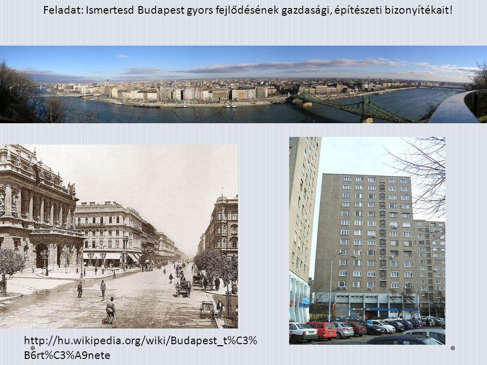 Feladat: Ismertesd Budapest gyors fejlődésének gazdasági, építészeti bizonyítékait! http://hu.wikipedia.org/wiki/Budapest_t%C3% B6rt%C3%A9nete
