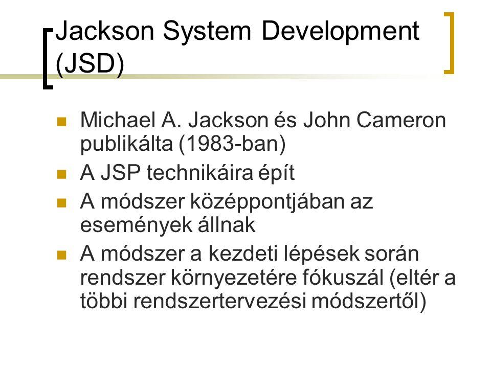 Jackson System Development (JSD)  Michael A. Jackson és John Cameron publikálta (1983-ban)  A JSP technikáira épít  A módszer középpontjában az ese