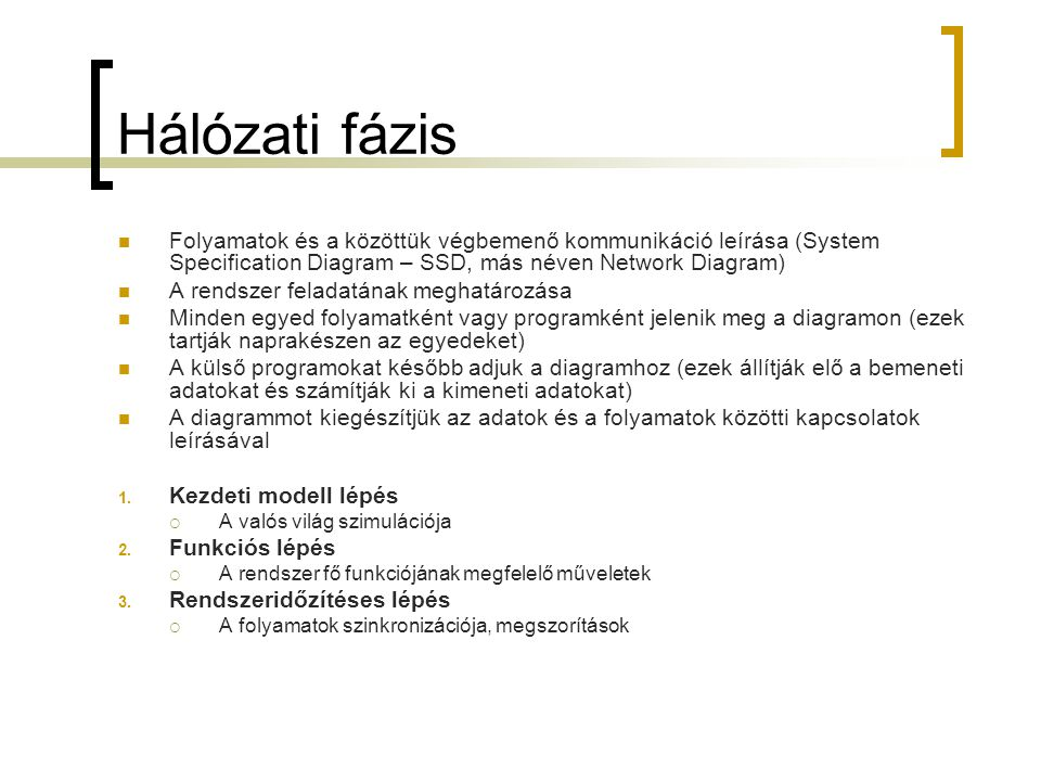 Hálózati fázis  Folyamatok és a közöttük végbemenő kommunikáció leírása (System Specification Diagram – SSD, más néven Network Diagram)  A rendszer