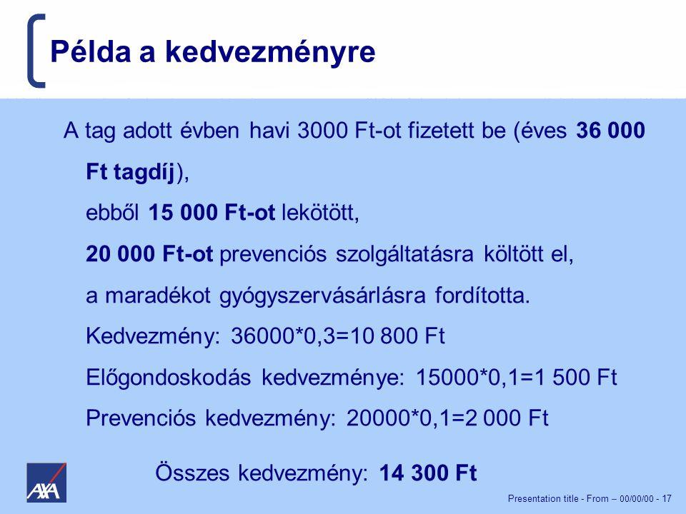 Presentation title - From – 00/00/00 - 17 Példa a kedvezményre A tag adott évben havi 3000 Ft-ot fizetett be (éves 36 000 Ft tagdíj), ebből 15 000 Ft-ot lekötött, 20 000 Ft-ot prevenciós szolgáltatásra költött el, a maradékot gyógyszervásárlásra fordította.