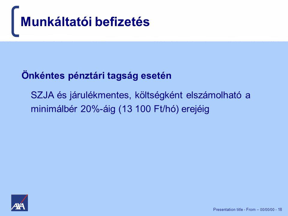 Presentation title - From – 00/00/00 - 18 Munkáltatói befizetés Önkéntes pénztári tagság esetén SZJA és járulékmentes, költségként elszámolható a minimálbér 20%-áig (13 100 Ft/hó) erejéig