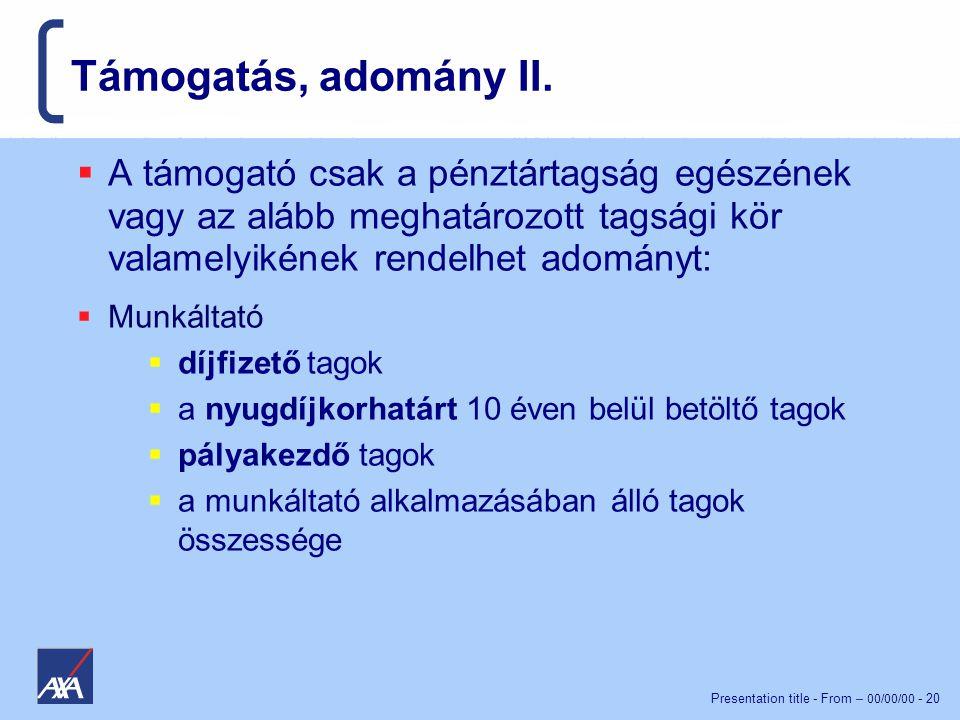 Presentation title - From – 00/00/00 - 20 Támogatás, adomány II.