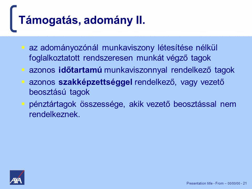 Presentation title - From – 00/00/00 - 21 Támogatás, adomány II.