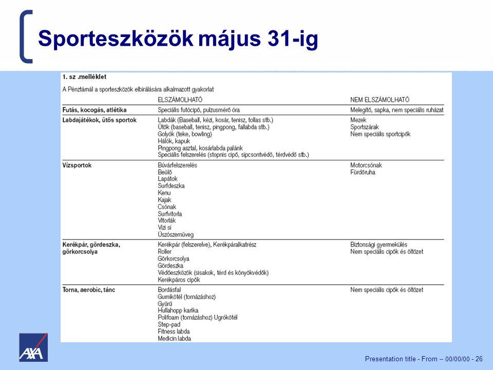 Presentation title - From – 00/00/00 - 26 Sporteszközök május 31-ig